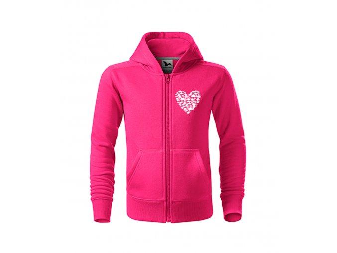mikyna dámská srdce z kaprů růžová