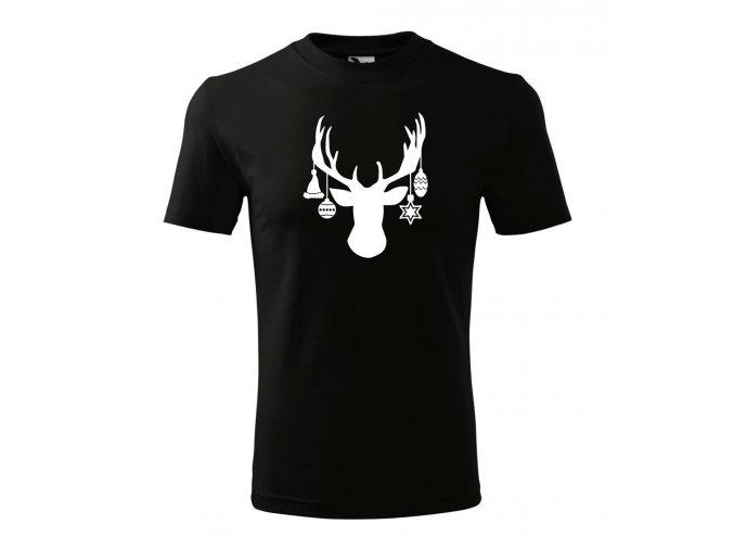 vánoční jelen na tričku černém