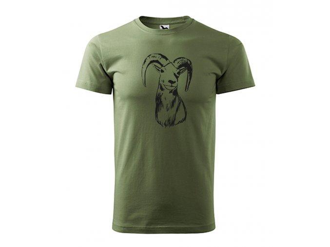 tričko s mucflonem khaki
