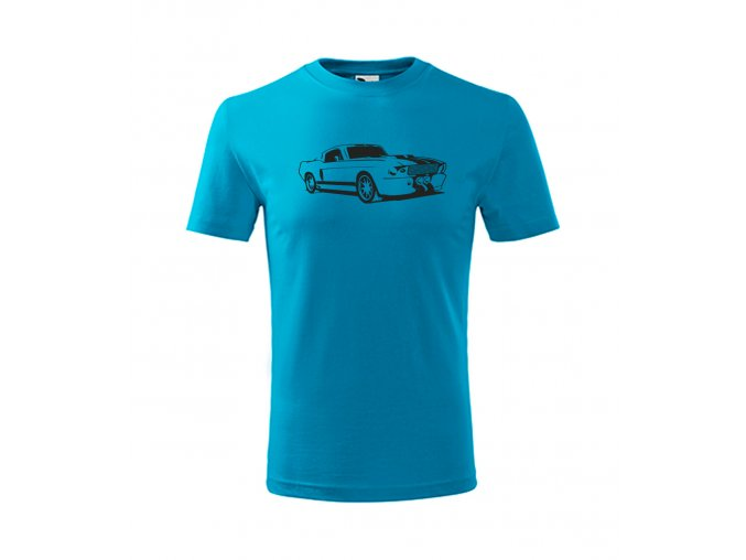 mustang auto dětské tričko modré