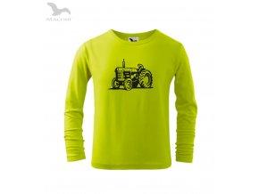 dětské traktor zetor tričko limetkové DLOUHY RUKAV