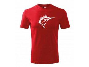 tričko s rybou mečoun červe