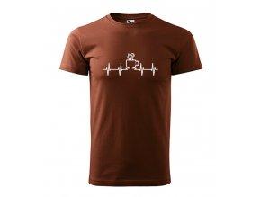 pánské tričko EKG kafe čokoládové