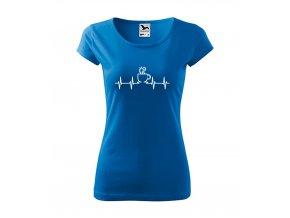 dámské tričko EKG kafe azurověmodrá