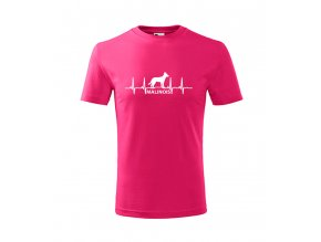 tričko s ekg malinois se psem malinoa dětské růžové