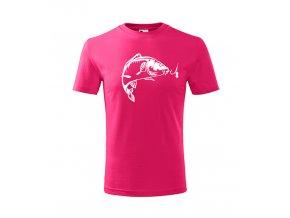 dětské rybářské triko kapříks háčkem růžové