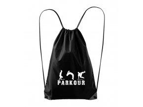 černý batůžk s nápisem parkour