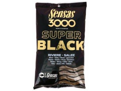 Vnadící směs Sensas 3000 Super black river Salty 1kg