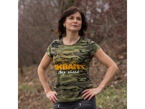 Mikbaits oblečení - Dámské tričko camou Ladies team L  + 10% sleva platná ihned po registraci pro všechny