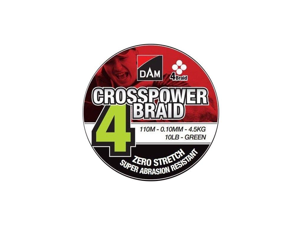 DAM Pletená Šňůra Crosspower 4-Braid Green 110m