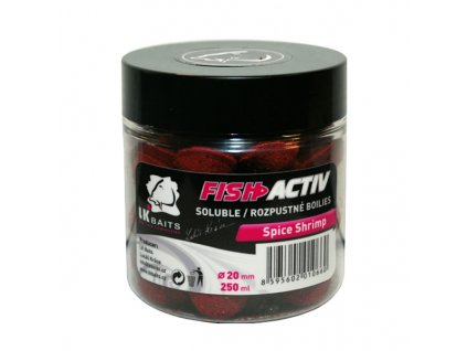 LK BAITS BOILIES FISH ACTIV SPICE SHRIMP 250ML, 20MM