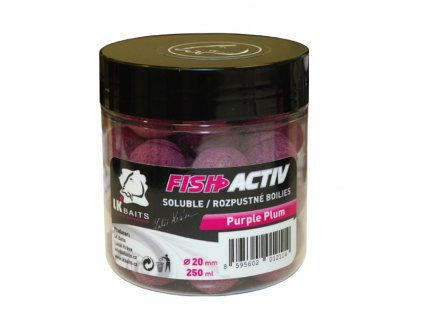LK BAITS BOILIES FISH ACTIV PURPLE PLUM 250ML, 20MM
