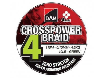 DAM Pletená Šňůra Crosspower 4-Braid Green 110m