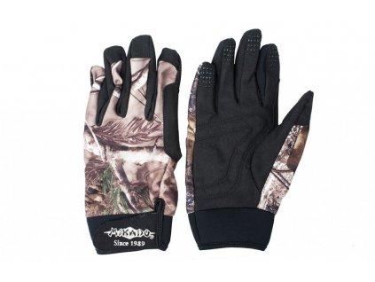 Rybářské látkové rukavice CAMO + GREY vel. M