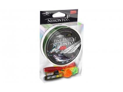 Pletená šňůra - NIHONTO FINE BRAID  010 150M Zelená Nosnost : 7.70kg