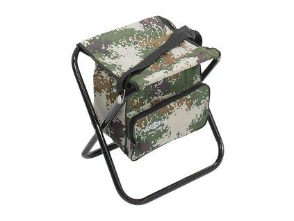 Stolička skládací s batohem (CAMOUFLAGE) (31x41x38 cm)