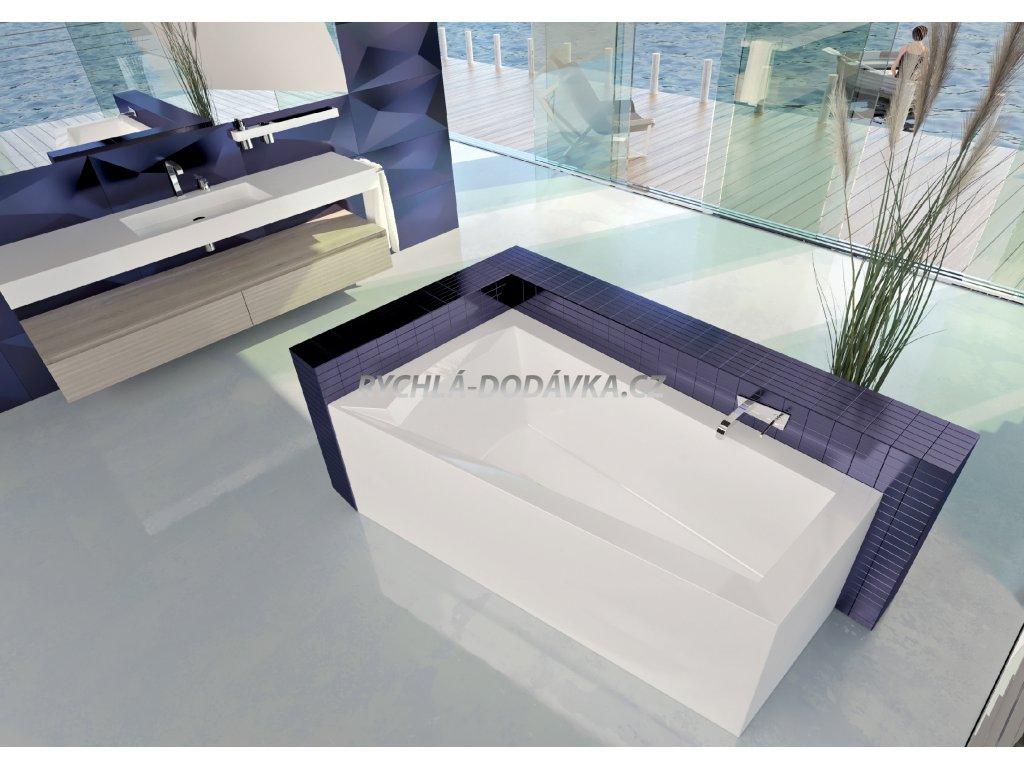 TEIKO Vana Nera 160 L asymetrická 160 x 100 cm, akrylátová, bílá, levá V110160L04T07001  Nohy zdarma