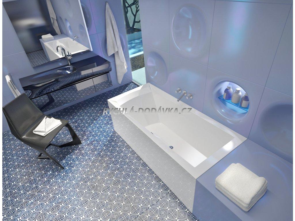 TEIKO Vana Porta 160 P obdélníková 160 x 76 cm, akrylátová, bílá, pravá V112160R04T06001  Nohy zdarma