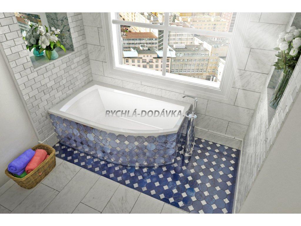 TEIKO Vana Thera new 160 x 98 cm rohová, akrylátová, bílá, levá V110160L04T12001  Nohy zdarma