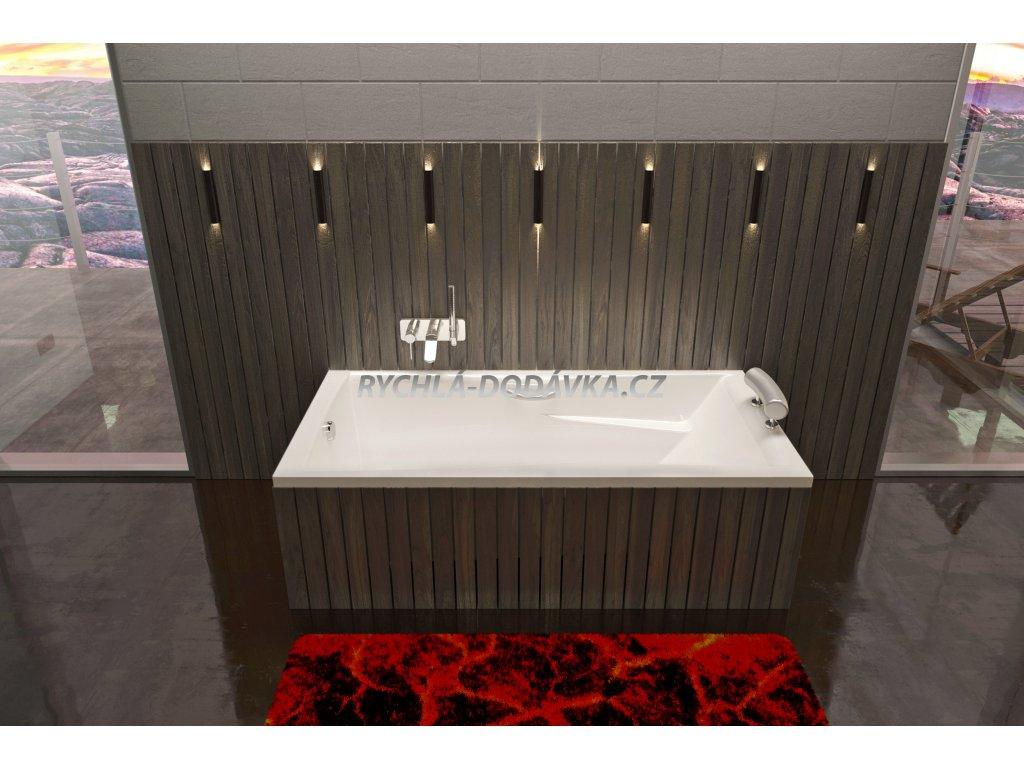 TEIKO Vana Columba obdélníková 170 x 75 cm, akrylátová, bílá V112170N04T05001  Nohy zdarma