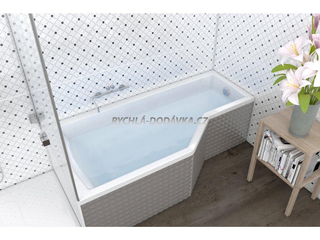 TEIKO Vana Tuba rohová 160 x 80 cm, akrylátová, levá, bílá V117160L04T01001  Nohy zdarma