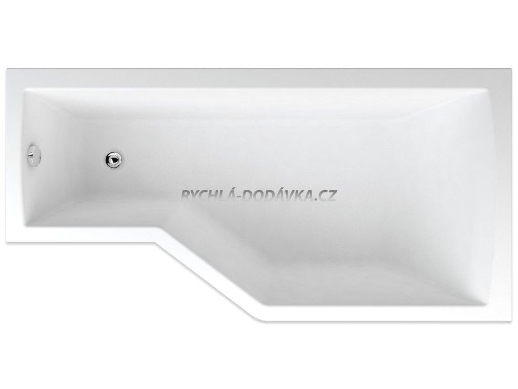 TEIKO Vana Tuba rohová 160 x 80 cm, akrylátová, pravá, bílá V117160R04T01001  Nohy zdarma