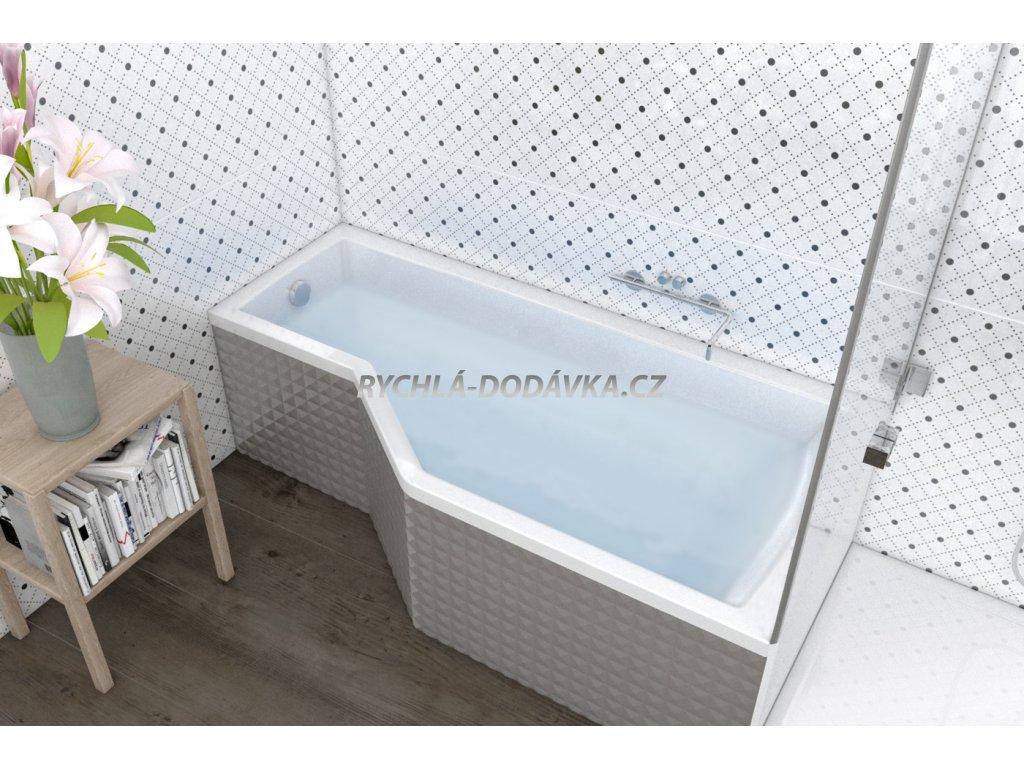 TEIKO Vana Tuba rohová 170 x 80 cm, akrylátová, pravá, bílá V117170R04T01001  Nohy zdarma