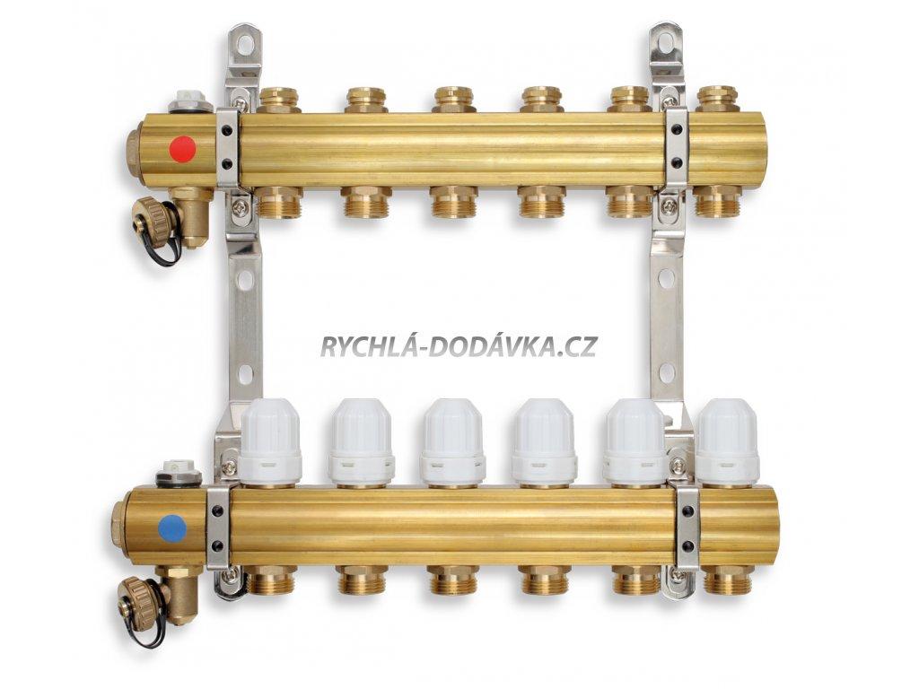 Novaservis Rozdělovač s regulačními, termost. a mech. ventily 7 okruhů RZ07S