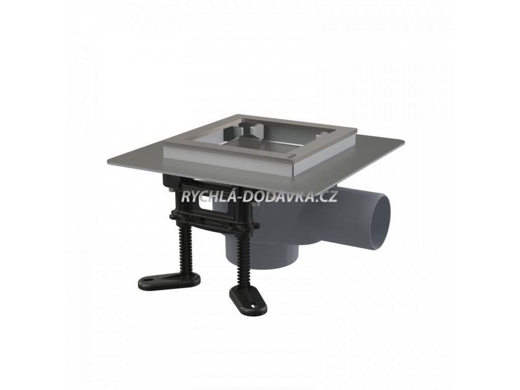 Alcaplast Podlahová vpust nerezová 130×130 mm boční, bez mřížky, vodní zápachová uzávěra APV130