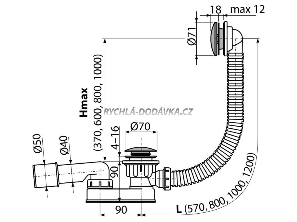 Alcaplast Sifon vanový CLICK/CLACK, kov A507CKM-80