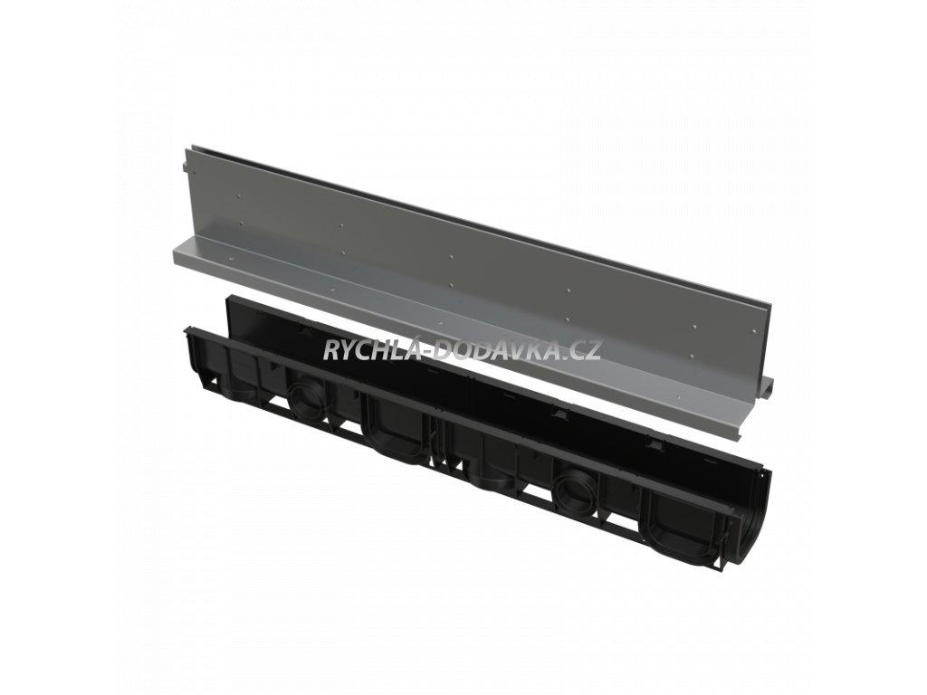 Alcaplast Venkovní žlab štěrbinový se symetrickým nástavcem 160 mm, nerez AVZ101-R324