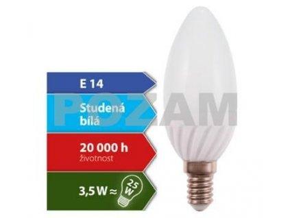 LED žárovka Svíčka E14 3,5W - 280lm; Studená bílá ( 4300K ), 270° Kapka-PZ-100026
