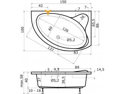TEIKO Vana Cejlon L rohová 150x100 cm, akrylátová, bílá, levá V110150L04T02001  Nohy zdarma