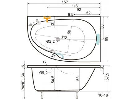 TEIKO Vana Spinell Mono L rohová 160x100 cm, akrylátová, bílá, levá V110160L04T08001  Nohy zdarma