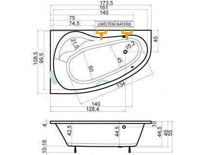 TEIKO Vana Dorado 175 P rohová 175x110 cm, akrylátová, bílá, pravá V110175R04T02001  Nohy zdarma
