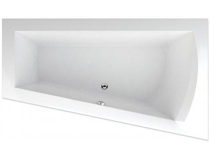 TEIKO Vana Nera 170 P asymetrická 170 x 100 cm, akrylátová, bílá, pravá V110170R04T02001  Nohy zdarma