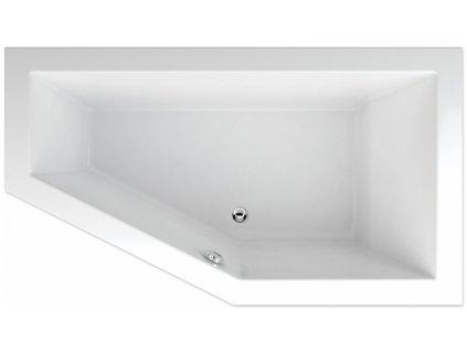 TEIKO Vana Lagos 170 x 90 cm, rohová, akrylátová, pravá, bílá V117170R04T02001  Nohy zdarma