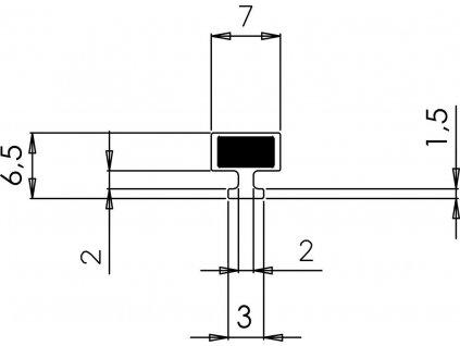 Polysan VITRA LINE magnetické těsnění do profilu do NIKY, 2000mm M125