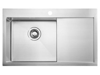 Sapho KIVA nerezový dřez s odkapem,79x48x20 cm, provedení L, R10 EP829L