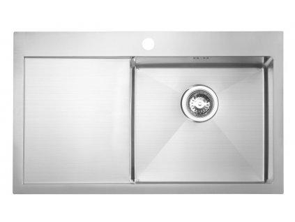 Sapho KIVA nerezový dřez s odkapem,79x48x20 cm, provedení P EP829R