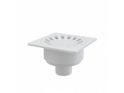 Alcaplast Podlahová vpust 150×150/50 mm přímá, mřížka bílá, vodní zápachová uzávěra APV16