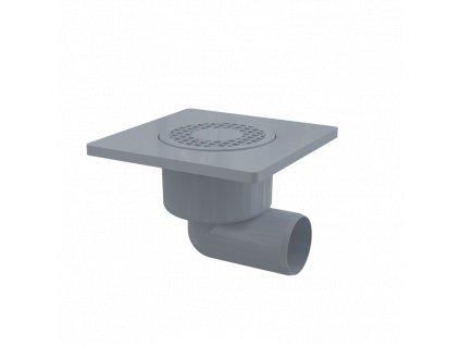 Alcaplast Podlahová vpust 150×150/50 mm boční, mřížka šedá, vodní zápachová uzávěra APV3