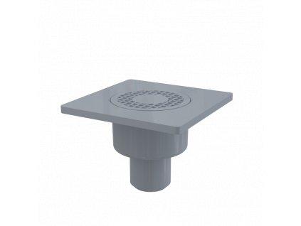 Alcaplast Podlahová vpust 150×150/50 mm přímá, mřížka šedá, vodní zápachová uzávěra APV4