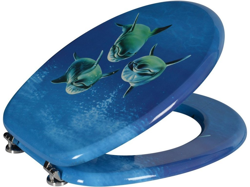 Aqualine FUNNY WC sedátko s potiskom delfíni, MDF HY-S115