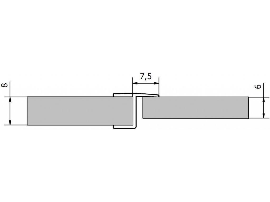 Polysan Akrylové tesnenie medzi sklá (praporek), dĺžka 2000mm na 8mm sklo 309B5-08