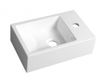 Sapho ALABAMA Umývadlo 36x11x23cm, pravá, liaty mramor, biela AL565