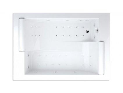 Teiko hydromasážní Vaňa ASTERIA DUO PNEU 195 x 135 x 46 cm 495 l 195 cm biela