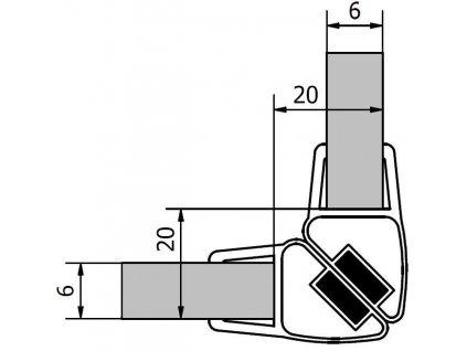 Polysan Sada dvoch magnetických tesnení dĺžka 2000mm na 6mm sklo, roh M126