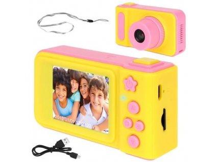 29015 detsky digitalni fotoaparat 2gb ruzovo zluta 8940