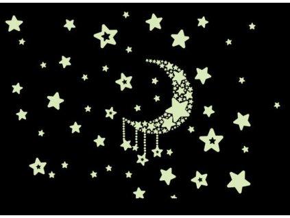 34019 fluorescencni samolepky hvezdy nocni obloha kx9228